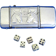 Chuck Luck gambling match safe w/ 5 bone dice, donkey motif, nickel plated brass, c. 1895