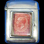 Match safe,  postage stamp holder combination, silver plated, c. 1895