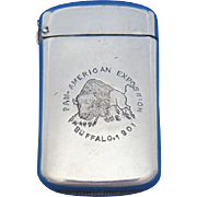 1901 Pan American Exposition, Buffalo match safe, by Wm. Schimper & Co., nickel plated brass