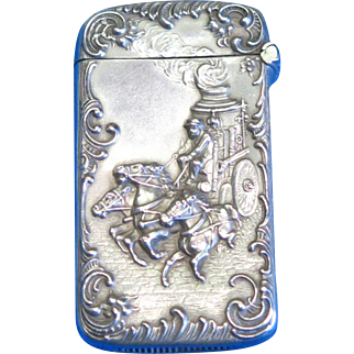 Home Insurance Co. of New York/horse drawn fire steam engine match safe, sterling by Wm. Kerr, c. 1900