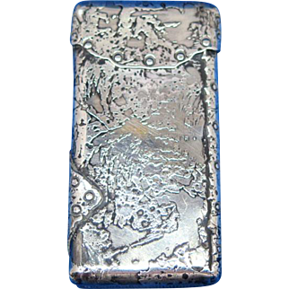 Very unusual figural package match safe, sterling, gold gilted interior, #23, c. 1895