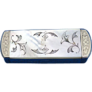 Unusual match safe with floral decorated mother of pearl sides  on a nickel plated body with engraved edges, c. 1895, Order of the Garter symbol,