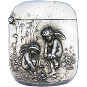 Chilly cherub motif match safe, sterling by Unger Bros. c. 1904,  painting by Jean-Ernest Aubert