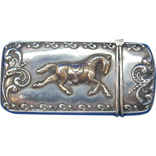 Gold gilted horse or pony motif match safe, sterling, c. 1900