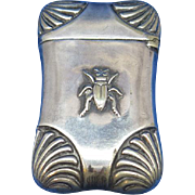 Beetle motif match safe, silver plated, c. 1895