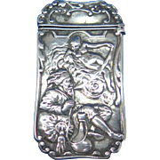 Old man dreaming of nude lady match safe, sterling by Gorham Mfg. Co., 1894, mfg. #1035, unusual item