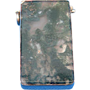 Petite moss agate match safe, nickel plated brass trim, c. 1895
