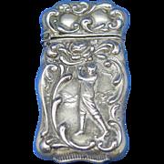 Golfer match safe, silveroin by Bristol Mfg. Co., c. 1900