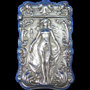 Art Nouveau nude lady match safe, silveroin by Bristol Mfg. Co., c. 1900