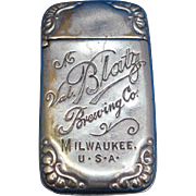 Blatz Brewing Co., Milwaukee advertising match safe, nickel plated brass, c. 1890, breweriana, beer