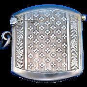 German match safe, 800 silver, c. 1900, sapphire cabochon