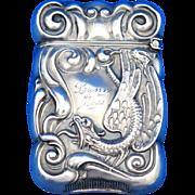 Serpent motif match safe, sterling by F. S. Gilbert, 1907