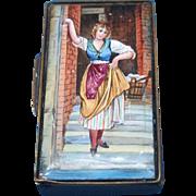 Young lady, match safe, enamel on brass, c. 1895