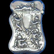 Cherubs and wishbone motif match safe, sterling, Wm. Kerr, #6, c. 1900