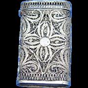 European filigree match safe, silver, c. 1890
