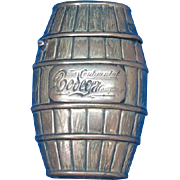 Figural wine barrel match safe advertising The Continental Bodega Co., brass, c. 1895
