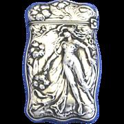 Art Nouveau, standing nude motif match safe, G. Silver, c. 1900