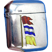 Enameled flags on sterling match safe, with Chester 1891 hallmarks for B. H. Joseph