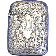 Griffins & foliate design match safe, sterling by Woods & Chatellier, c. 1900