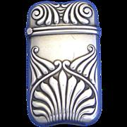 Sterling match safe, unusual design, unidentified maker, c. 1900
