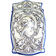 Art Nouveau lady &  floral design, match safe, sterling by Gorham Mfg. Co., mfg. #B2148, c. 1905