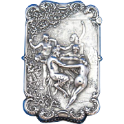 Nymphs and Satyr motif match safe, sterling by Wm. Kerr Co. c. 1900, based on painting by Bouguereau, gold gilted interior
