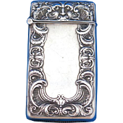 Foliate edge design & stylized face motif match safe, sterling by Gorham Mfg. Co., mfg. #B3801, c. 1910