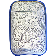Etched floral design match safe, sterling by L. Fritzsche & Co., c. 1900