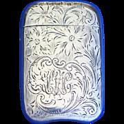 Etched floral design match safe, sterling by L. Fritzsche & Co., c. 1900