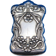 Floral design match safe, by Watrous Mfg. Co., silver plated, c. 1900