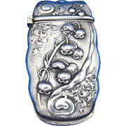 Lily of the valley motif match safe, sterling by Whiting Mfg. Co., cat. #2335, c. 1900