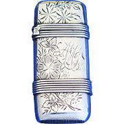 Engraved floral and banded design match safe, sterling by Whiting Mfg. Co., cat. #12R1, c. 1895