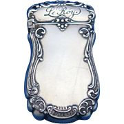 Le Roy cigarette premium, match safe, sterling by William Smith & Co., cat. #2263, c. 1900
