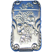 Lilies of the valley motif match safe, G Silver, c. 1900