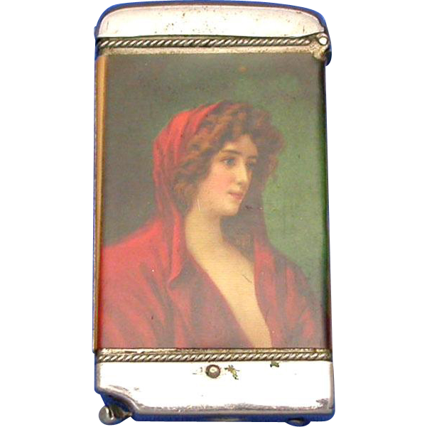 Celluloid wrapped match safe, image attractive lady, by Whitehead & Hoag, cigar cutter, salesman's sample