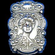 Young lady motif match safe, sterlinE, by James E. Blake Co., c. 1900