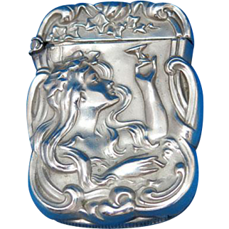 Art Nouveau lady smoking & drinking match safe, sterline by James E. Blake, c. 1900