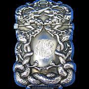 Serpents & snakes motif match safe, sterling, c. 1900