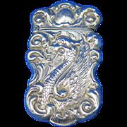 Serpent motif match safe, sterling, c. 1900