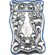 Lily flower motif match safe, sterling, c. 1900