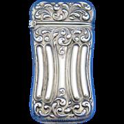 Swirl design match safe, sterling, c. 1900, gold gilted interior