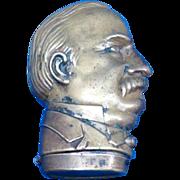 President Grover Cleveland figural match safe, brass by Simon Zinn, Patented Oct. 9, 1888