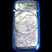 Quebec souvenir match safe, sterling, marked Duquet, c. 1900