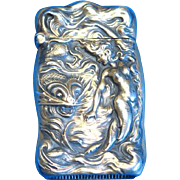 Underwater mermaid and fish motif match safe, sterling, Unger Bros, c. 1905