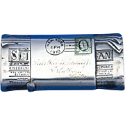 Figural Scientific American newspaper match safe, sterling with enameled postage stamp, by Enos Richardson & Co. c. 1910