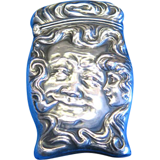 Man in the Moon match safe, sterling by Unger Bros.,  Art Nouveau smoking motif, cat. #1628, c. 1904