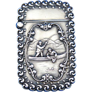 Fishing motif match safe, sterling with a frosted finish, gold gilted interior, c. 1900