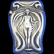 Art Nouveau standing nude match safe, sterling, c. 1900
