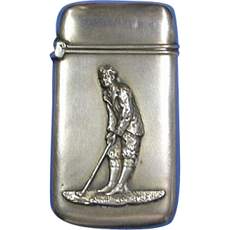 Golfer motif match safe, sterling, c. 1900