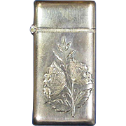 Engraved floral motif match safe, sterling, #112